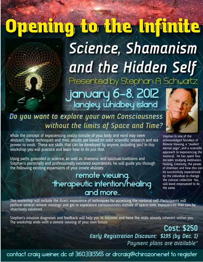 Join us on Whidbey Island Jan 6-8, 2012 for this workshop presented by Stephan A. Schwartz